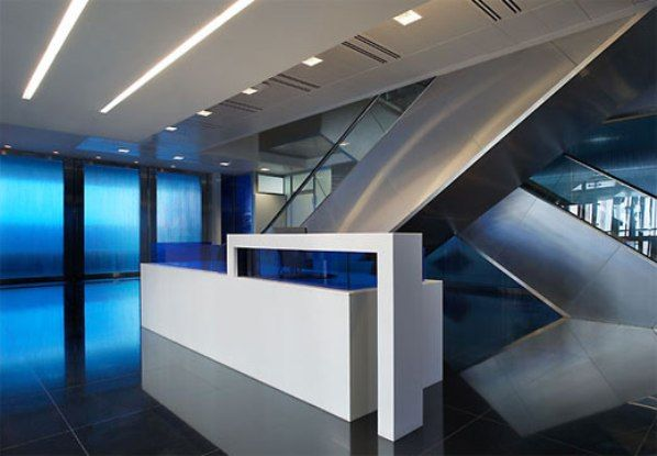 Sample spacious bank interior design layout remodeling for Modern minimalist office design layout