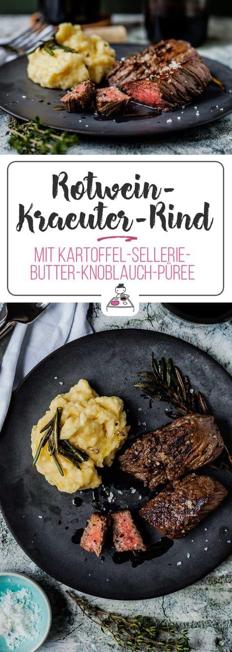 Rotwein- Kräuter- Rind mit Kartoffel- Sellerie- Butter- Knoblauch-Püree. Juchee! - GourmetGuerilla #weihnachtsessenrezepte
