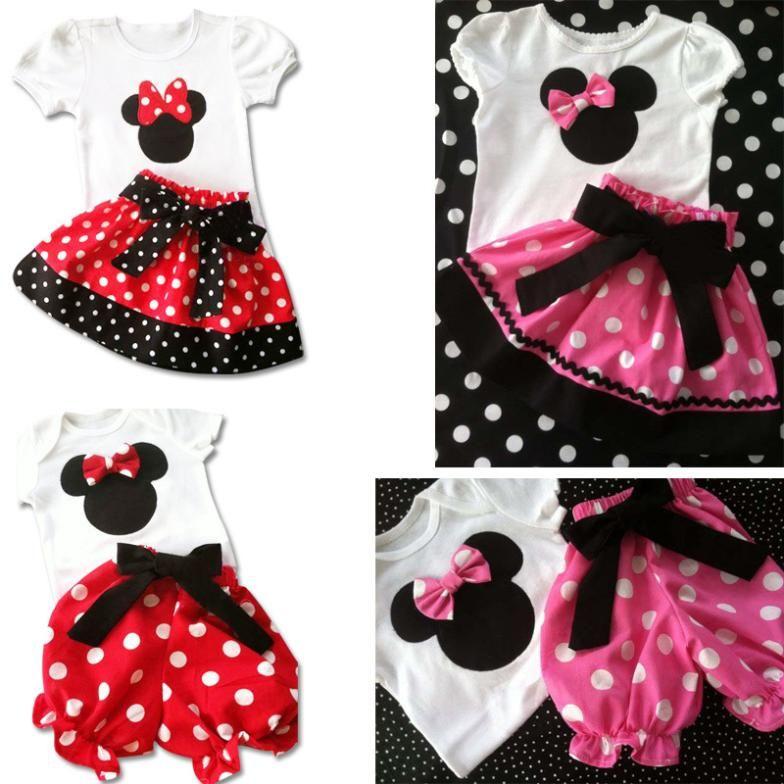 f572b0d7317f0 Minnie Mouse Mickey vestido e calças para crianças, vermelho cor de rosa  pontos, 2.014 Verão bebê menina conjuntos Nova roupa por atacado e varejo  7.80
