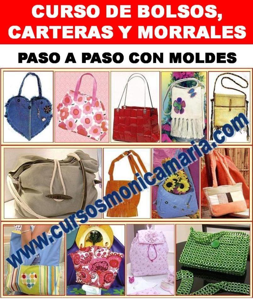 curso manual bolsos bolsas carteras morrales billeteras moldes patrones