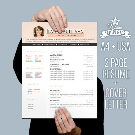 resume template cover letter 2 page cv a4 usa letter resume