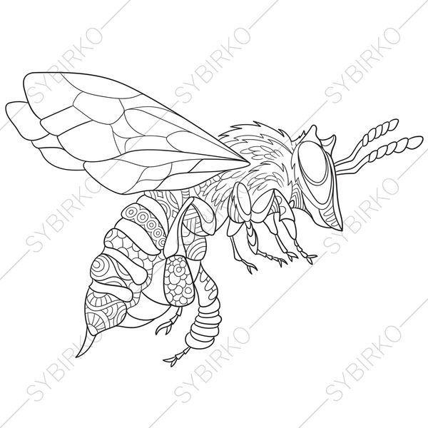 3 Coloring Pages Of Bee Zentangle Doodle Coloring Book Pages Bee Coloring Pages Insect Coloring Pages Cartoon Bee