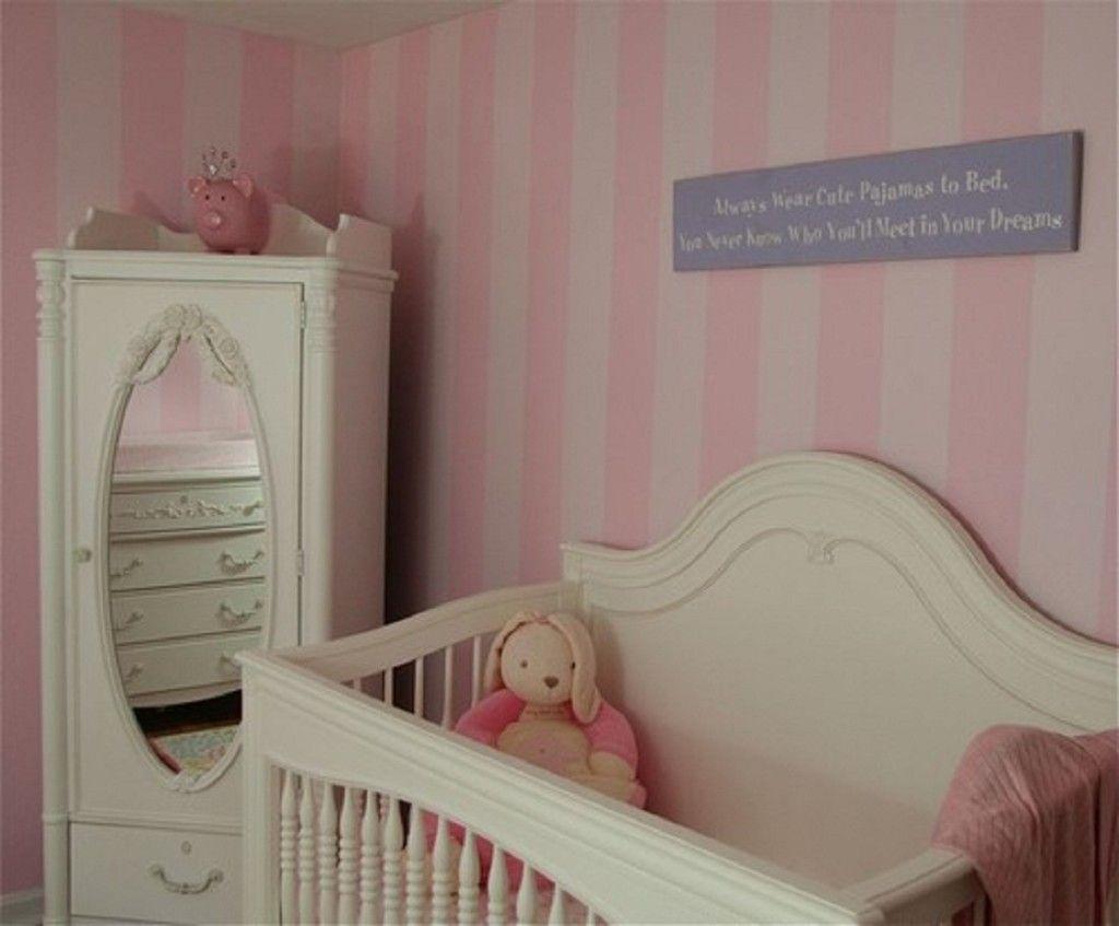 Nursery Ideas For Girls Pink Striped Wall Girl Nursery 1024x847