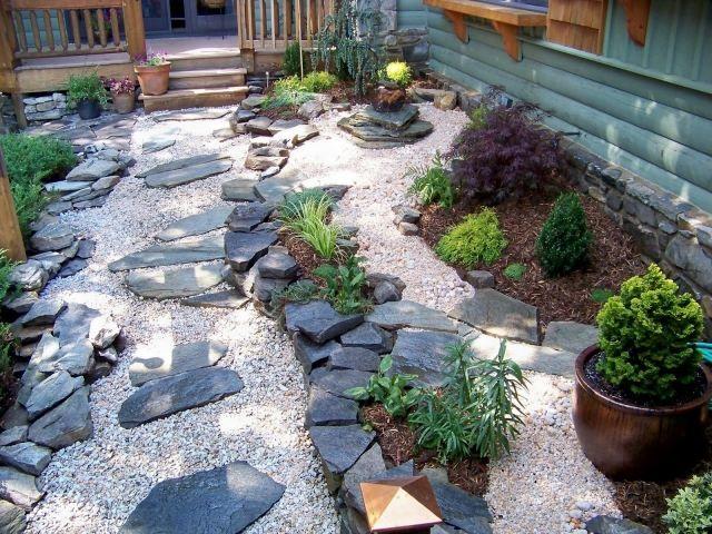 japanischer garten steine kies pflanzen elemente vorgarten - moderner vorgarten mit kies