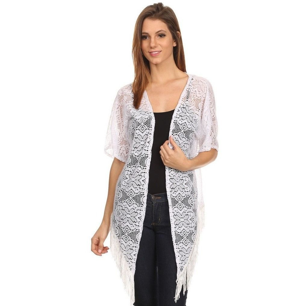 Womens Open Front Lace Poncho with Fringe