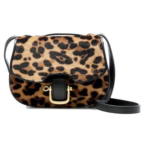 Women's J.crew 'Rider' Italian Leather & Genuine Calf Hair Mini Bag featuring polyvore women's fashion bags handbags shoulder bags purses hazelnut leopard calf hair leather shoulder bag leather handbags leather crossbody handbags crossbody purses leather purses