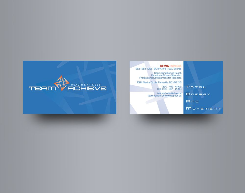 Team Achieve - Business card design for a sport and fitness coach on ...