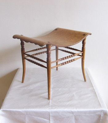Gorgeous Golden Oak Thebes Stool, Spindle Legs, Scalloped Edges
