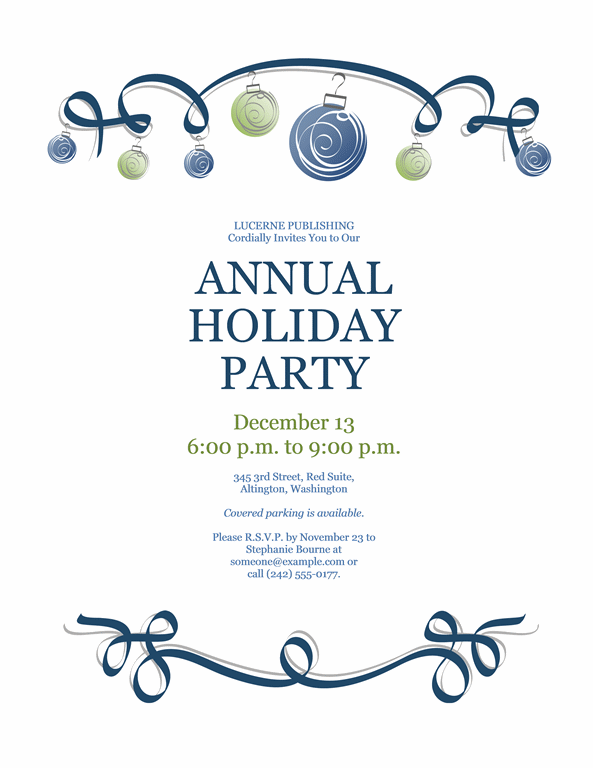 Holiday Party Invitation With Ornaments And Blue Ribbon Formal Des Christmas Party Invitation Template Party Invite Template Holiday Party Invitation Template