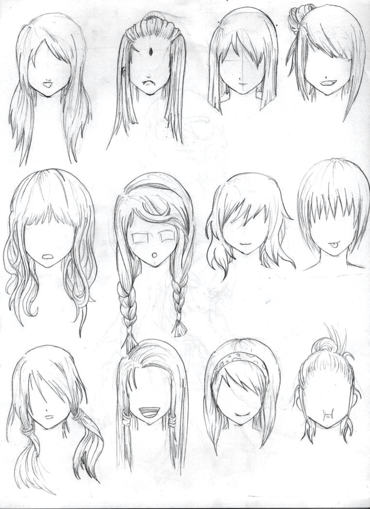 Female Hairstyles Drawing Reference Braids Drawing Reference Short Hair Drawing How To Draw Hair Anime Hair