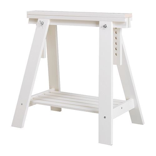 FINNVARD Trestle with shelf - white - IKEA. Oh, I like these as adjustable desk legs because there's some storage!