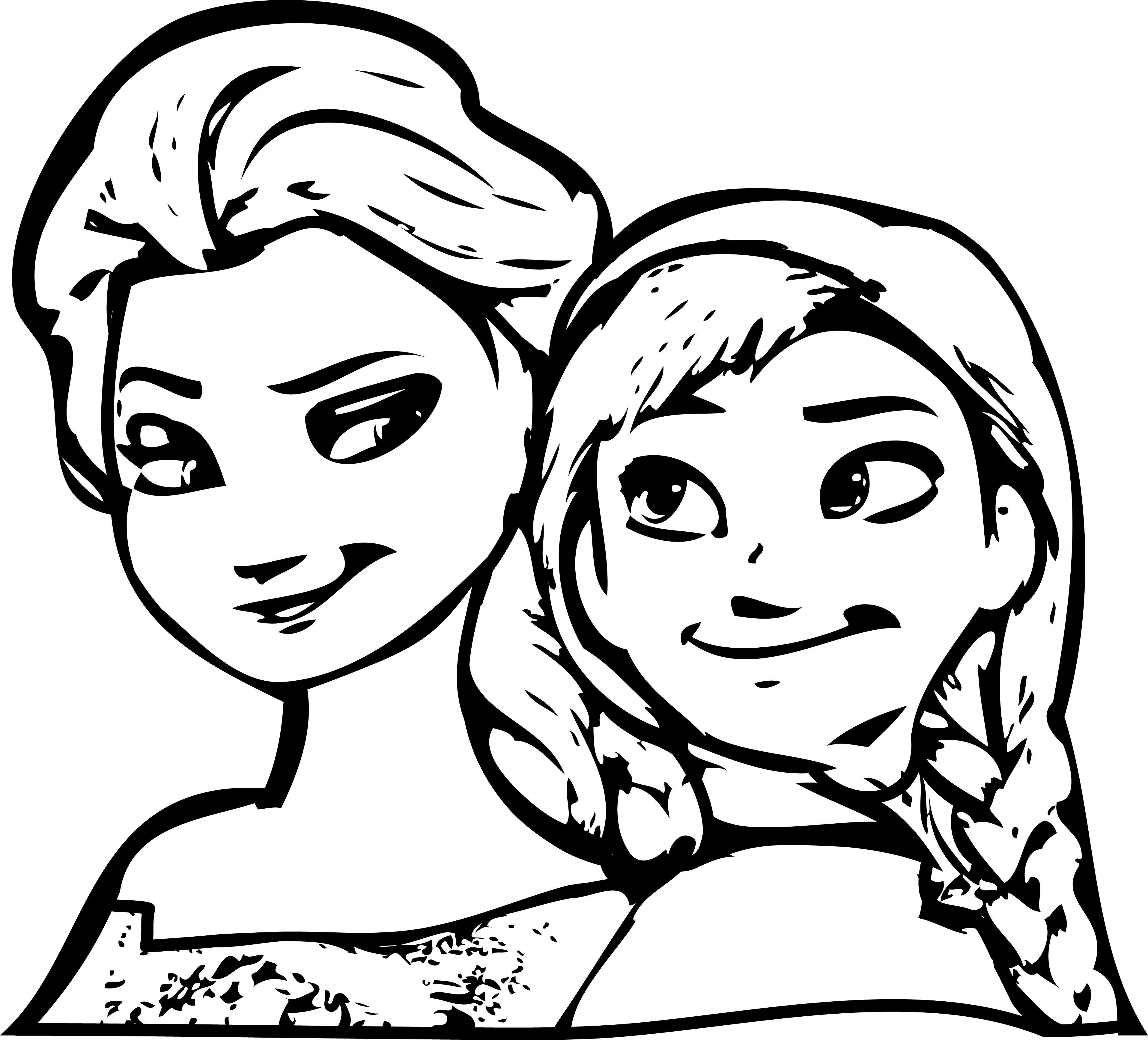 Frozen Anna Elsa Coloring Page