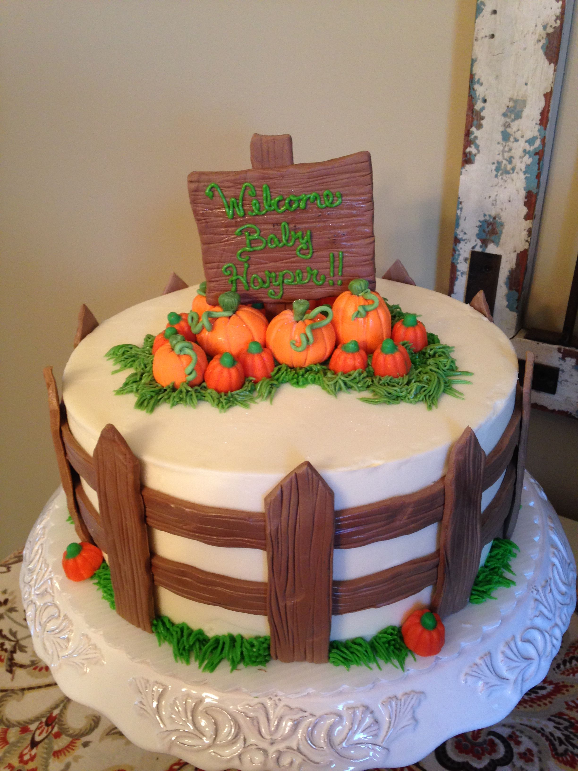 Pumpkin Patch Baby Shower Cake   CAKES/CUPCAKES/COOKIES   Baby