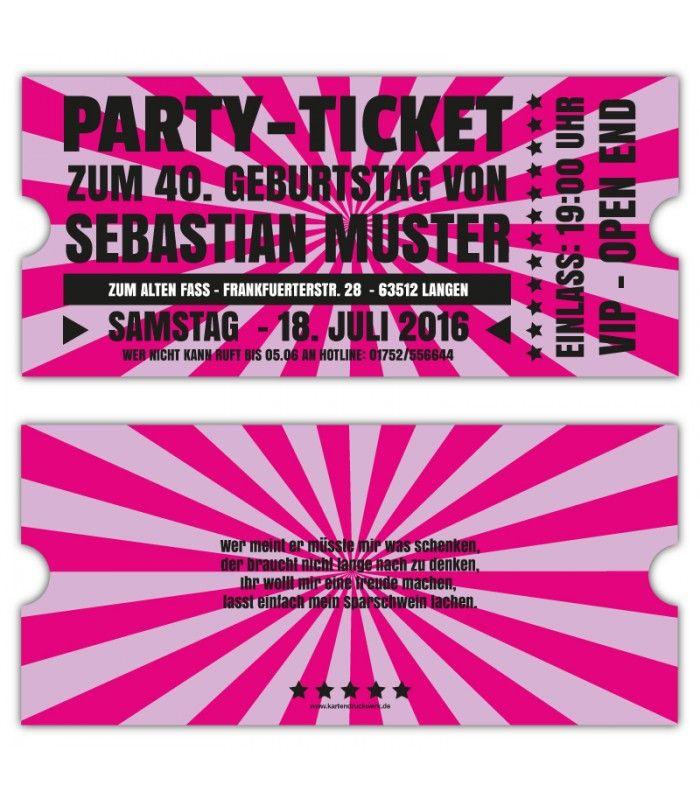 Einadungskarten  VIP Retro Ticket Eintrittskarten Gestalten 40. 30 ·  EintrittskartenEinladungskarten Geburtstag50 ...