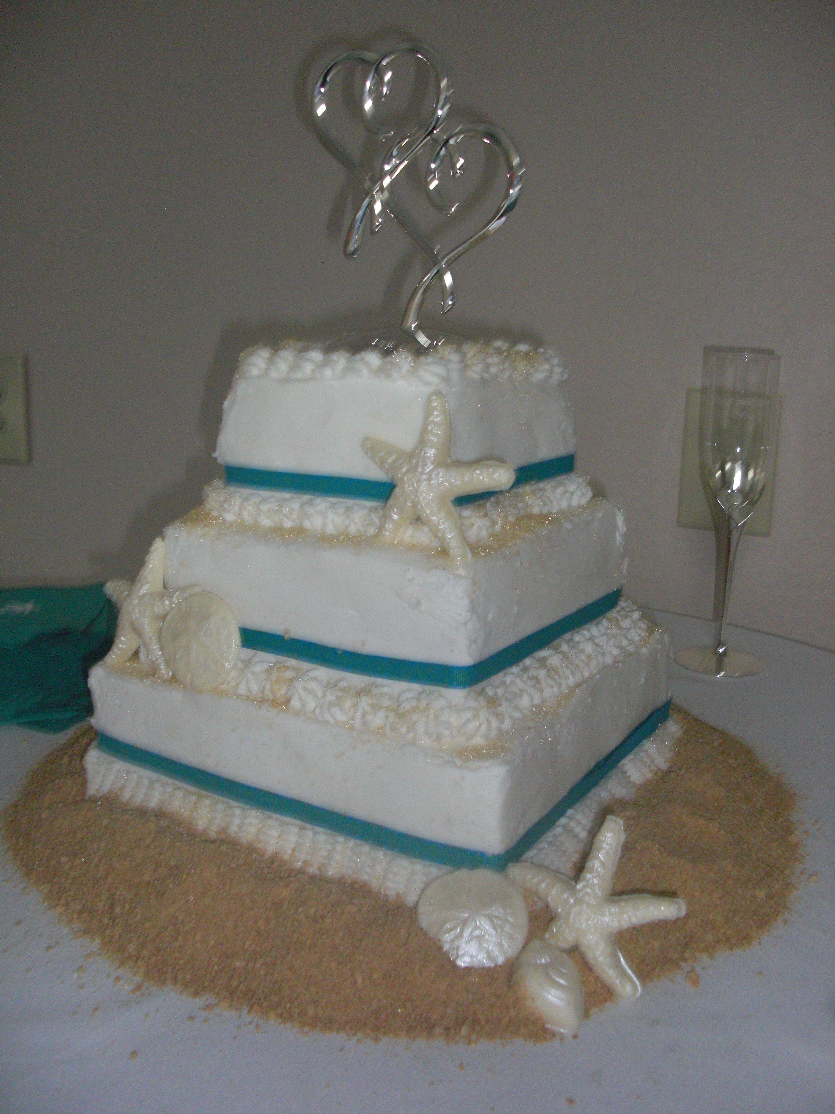 Bj S Square Beach Theme Cake Marble Infused Godiva