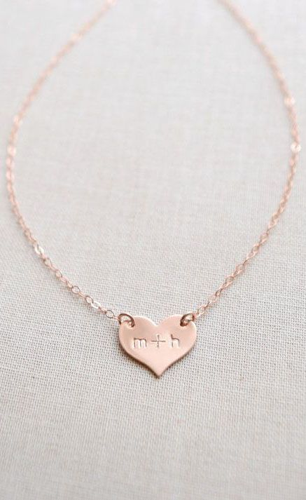 Rose gold heart necklace gold initials small engraved heart small personalized heart necklace engraved with initials etsyfinds aloadofball Gallery