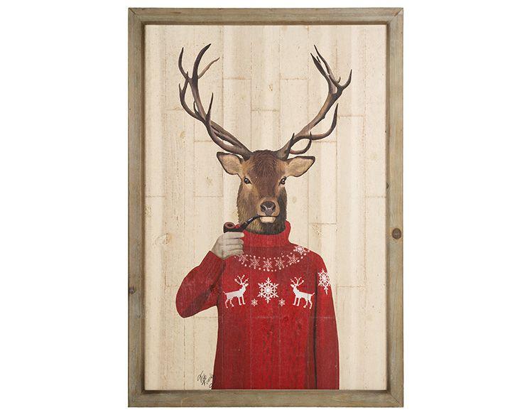 Cuadro vintage de ciervo navide o en madera de abeto 4 x - Cuadros vintage madera ...