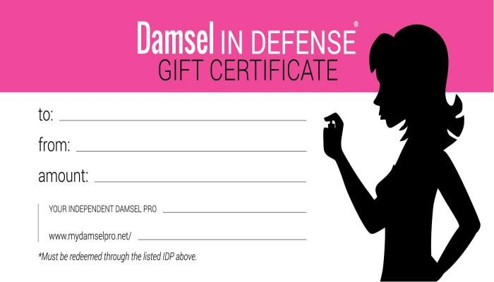 Damsel Gift Certificates | Damsel in Defense