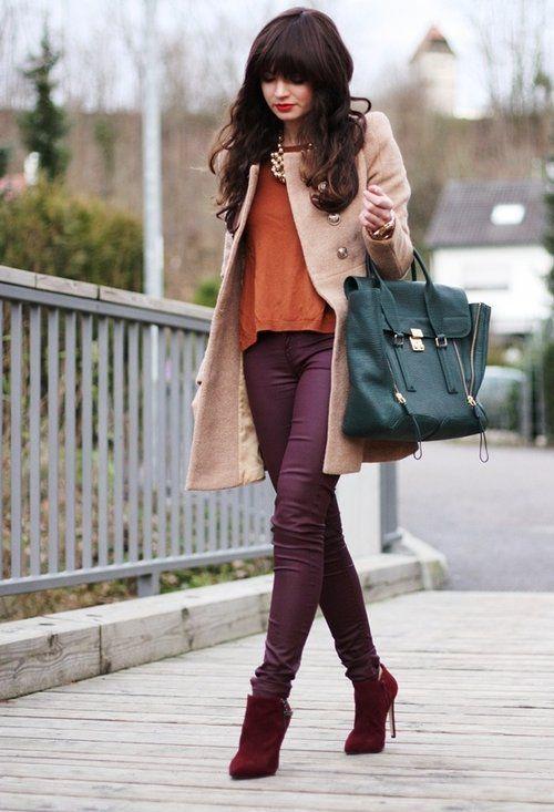 Women's Camel Coat, Orange Long Sleeve T-shirt, Purple Jeans, Red ...