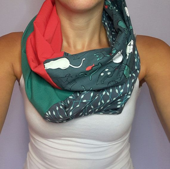 Catlady, Green and red, white and navy cat design infinity scarf ... f84ef6a7ef06