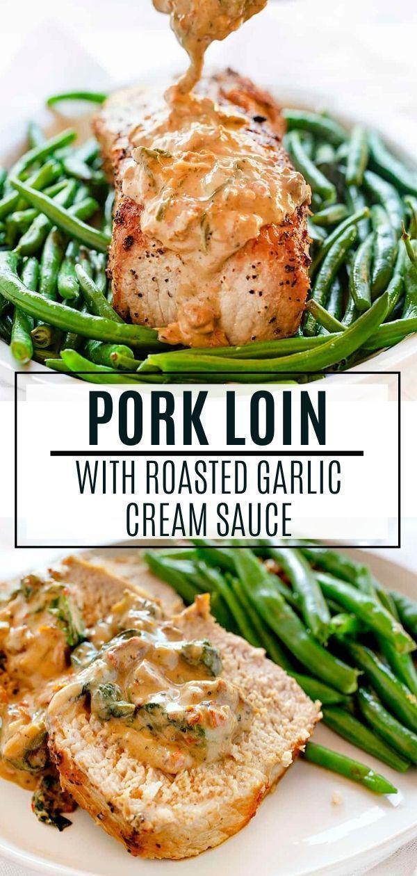 Pork Loin with Roasted Garlic Cream Sauce