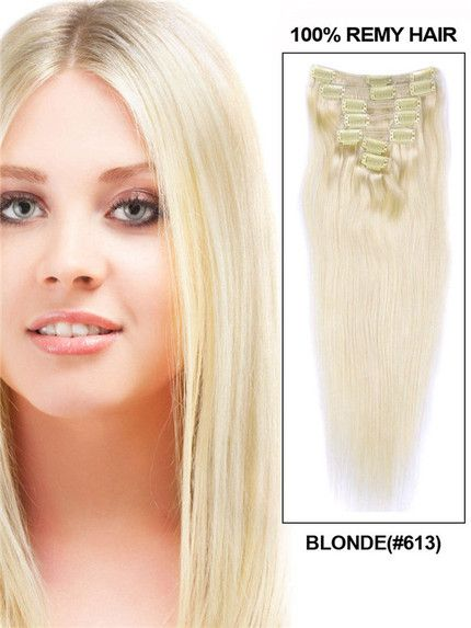 Bleach White Blonde(#613) Premium Straight Clip In Hair Extensions 7 Pieces cih091 Only $24.80 #humanhairextensions