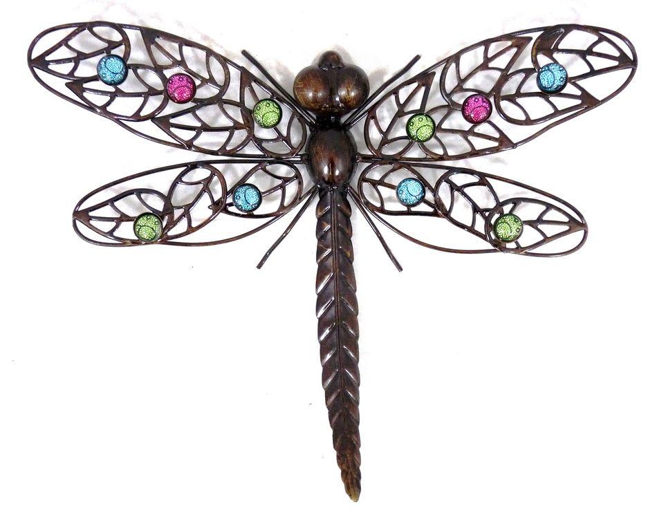 Dark metal wall art hanging dragonfly dragonfly metal