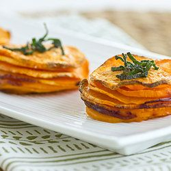 From Oh My Veggies. Ingredients: 1 large sweet potato, cut into 1/8-inch thick slices, olive oil cooking spray or mister, coarsely ground salt and pepper.
