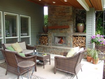 Outdoor Fireplace Under Covered Patio   Google Search
