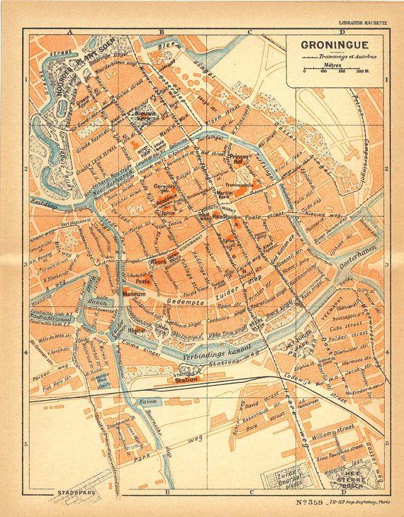 1926 Groningen City Map Street Plan Netherlands Lithograph Groningue ...
