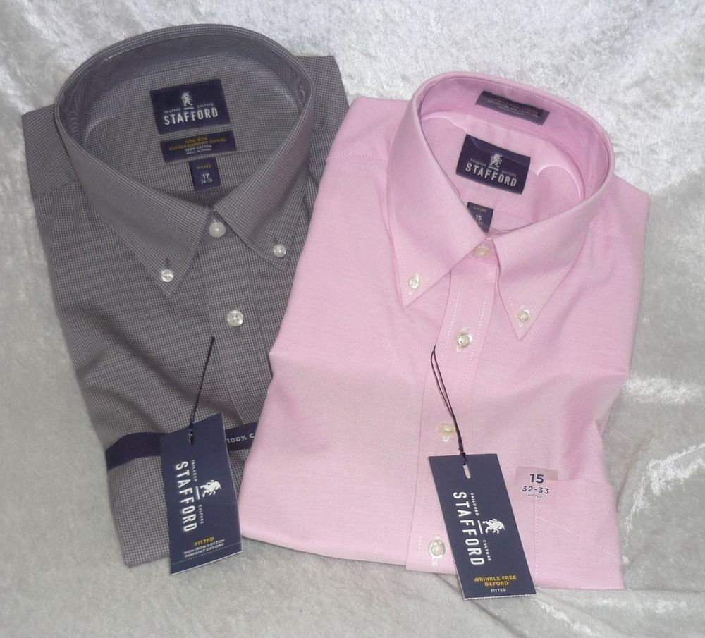 Stafford dress shirt wrinkle free oxford Fitted men\'s size 15 32-33 ...