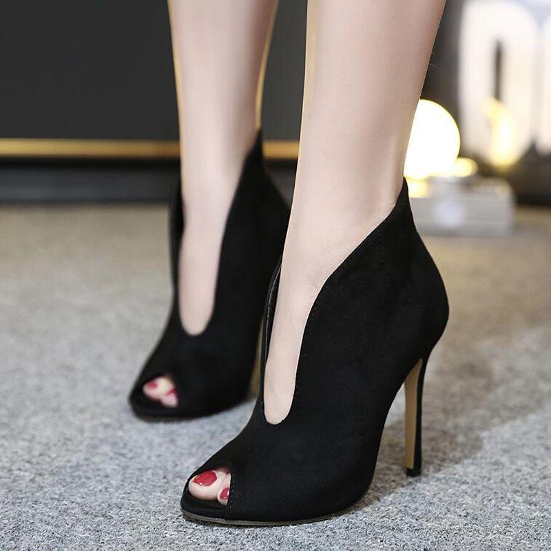 Estrella zapatos de tacón alto v punta abierta en forma de bota ... 888a0bb7c632
