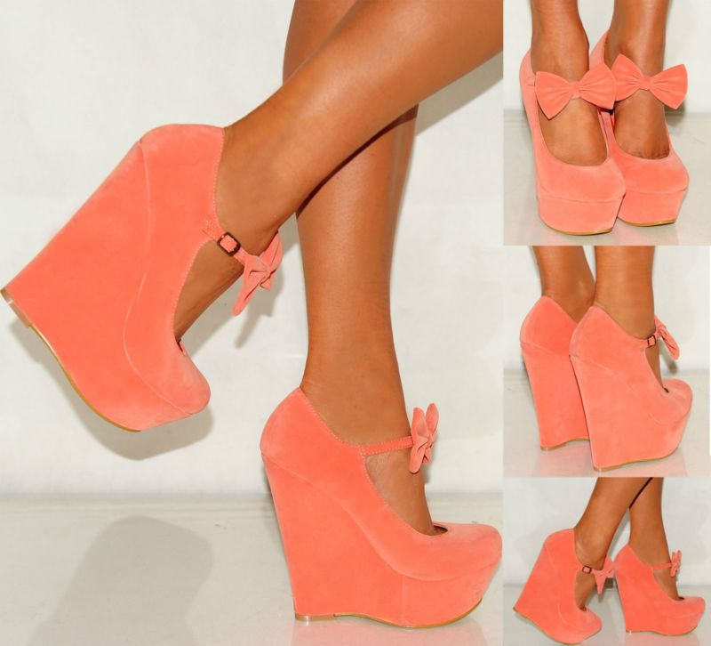 ee6c55b85e LADIES WOMENS ANKLE STRAPS BOWS WEDGED PLATFORMS WEDGES HIGH HEELS SHOES UK  3-8