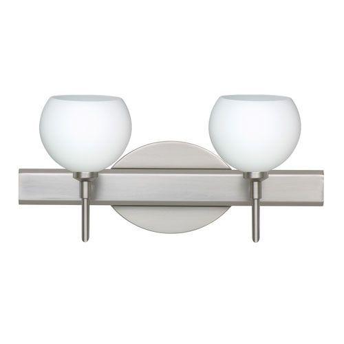 Palla 5 Satin Nickel Two-Light LED Bath Vanity with Opal Matte Glass