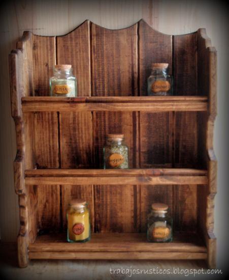 Especiero rustico madera artesanal ideas para el hogar madera muebles y especieros de madera - Muebles de madera rusticos para cocina ...