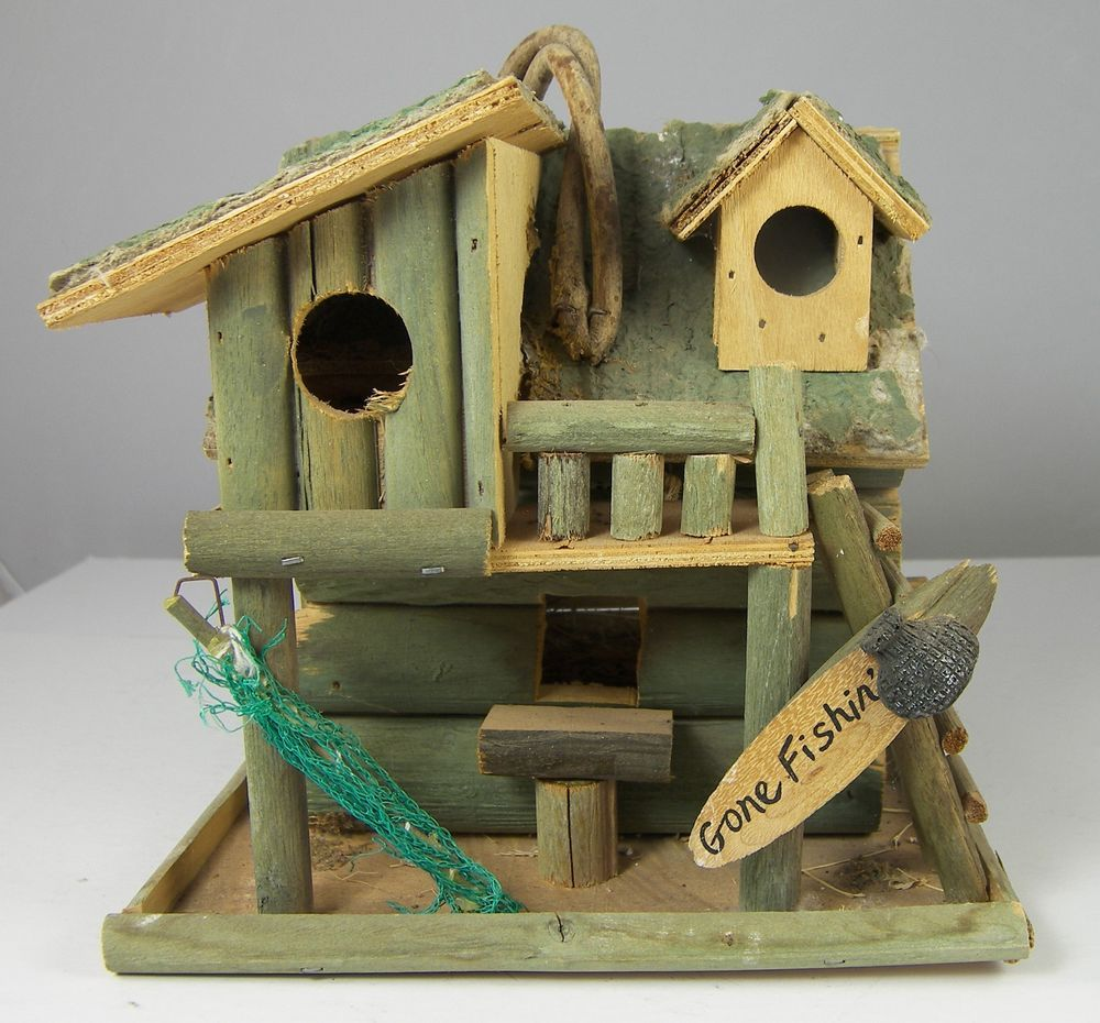 Details about fishing cabin decorative bird house 8 x 8 x - Decorative bird houses ...