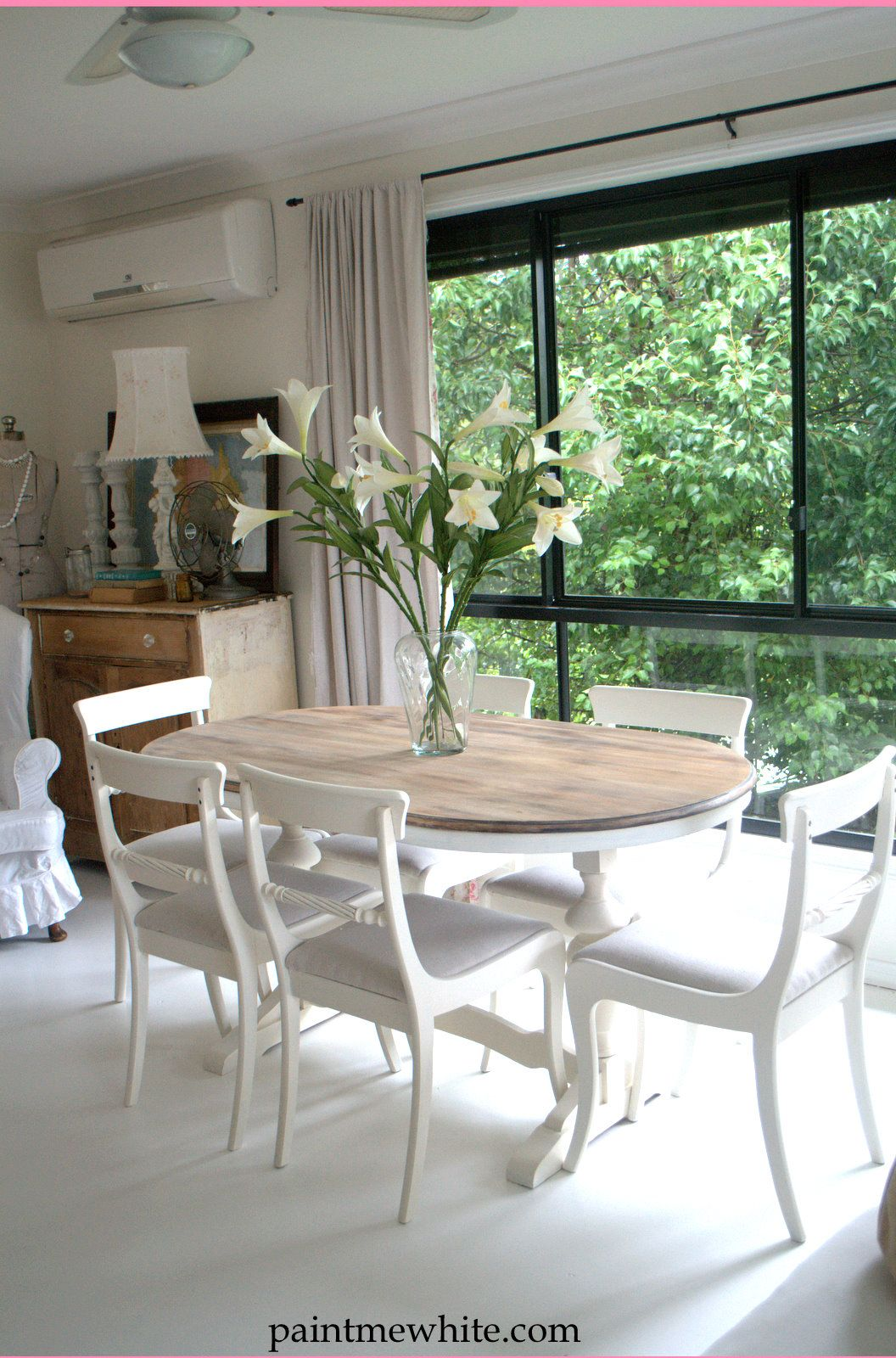 Paint me white dining table makeover ideas diy for Painting dining room table ideas