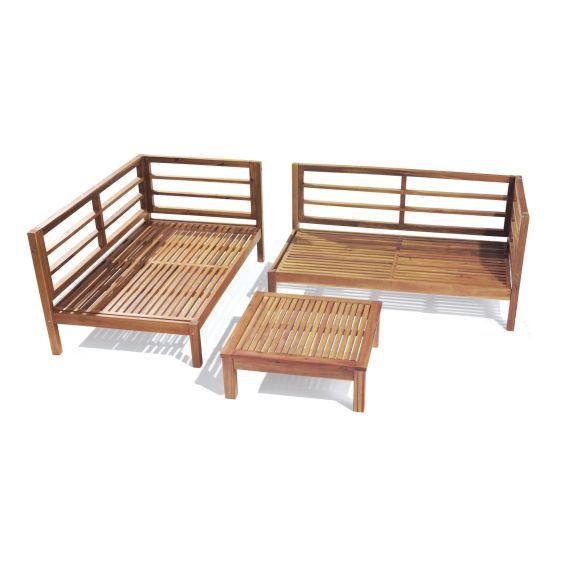 Gartenmöbel set holz mit auflagen  Holz-Ecklounge, 3-tlg., inkl. Auflagen Vorderansicht ...
