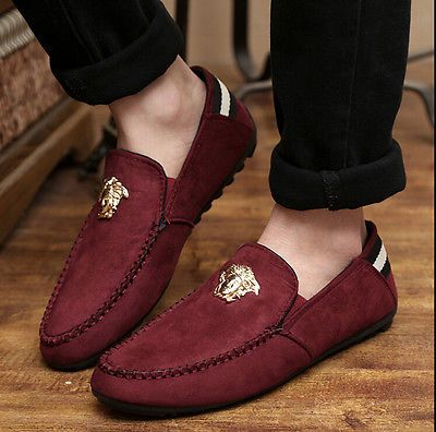 7bd82a004acb New Mens Comfy Suede Casual Slip On Loafer Shoes Moccasins Driving Shoes  SR02