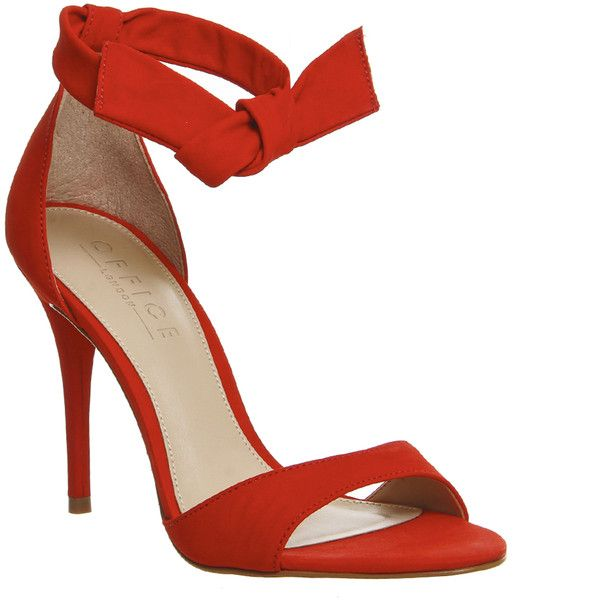 Office Act Tie Ankle Sandals 75 Liked On Polyvore Featuring Shoes High Heels Red Nubuck Leather Women Heel