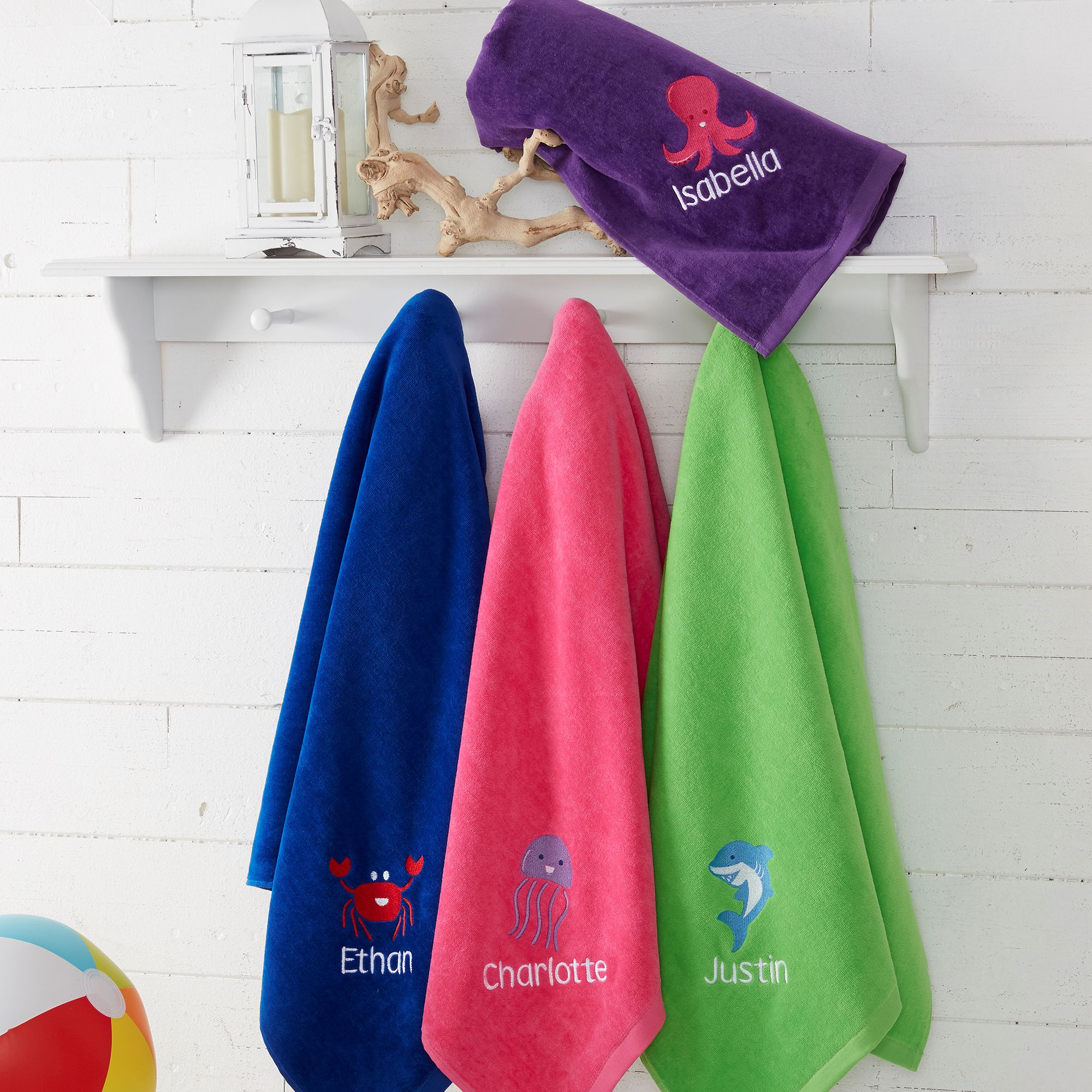 18573 Sea Creatures Embroidered Beach Towels Embroidered Beach