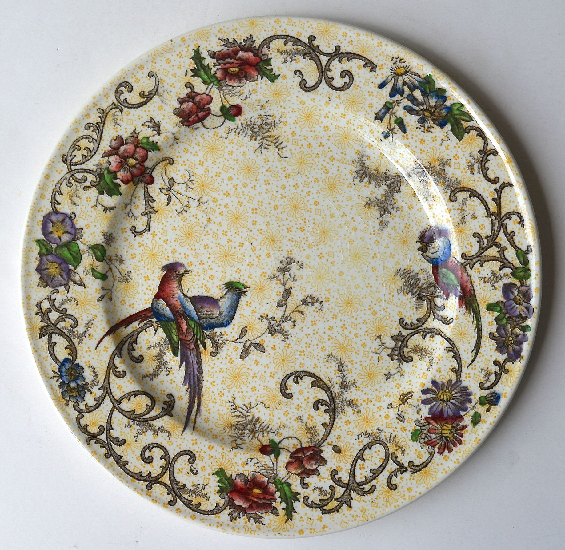 Yellow Decorative Plates Antique Yellow Transferware Polychrome Two Color Plate Birds And