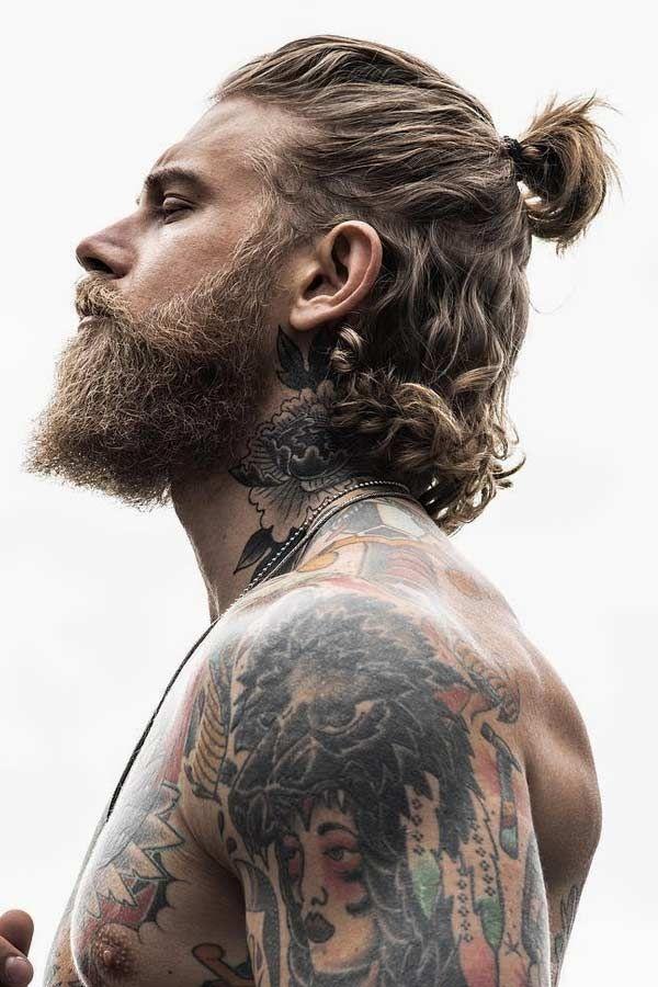 Half Bun In 2020 Hipster Haircut Man Ponytail Long Hair Styles Men