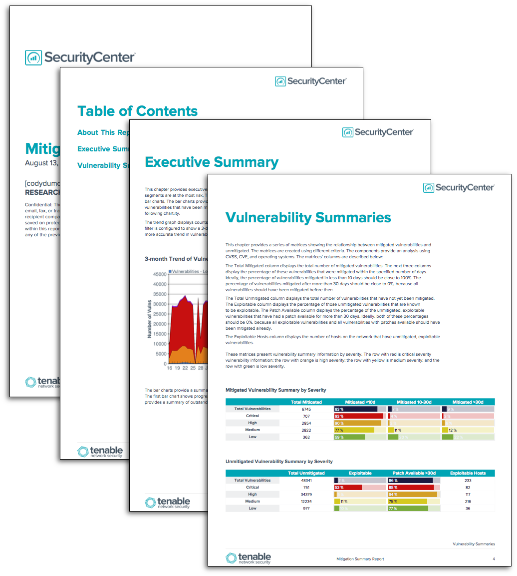 Mitigation Summary Report Template Tenablea Managing Risk Can Seem