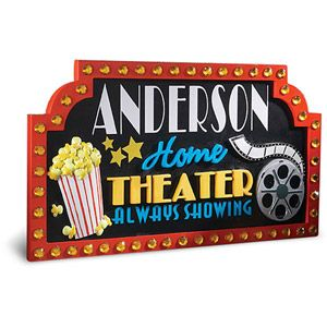 $29.00 Personalized Home Theater Sign.  A better budget-friendly sign from Walmart.  Order it online and have it sent directly to your closest Walmart store for FREE SHIPPING.