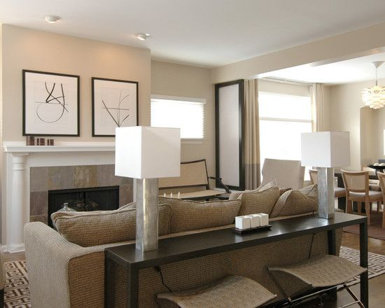 Wall Space Behind Sofa Design Pictures Remodel Decor And Ideas House Interior Design Living Room Contemporary Family Rooms Console Table Behind Sofa