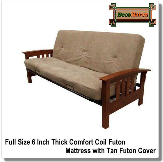 Full Size 6 Inch Thick Comfort Coil Futon Mattress With Tan Cover Experience The Ultimate In This