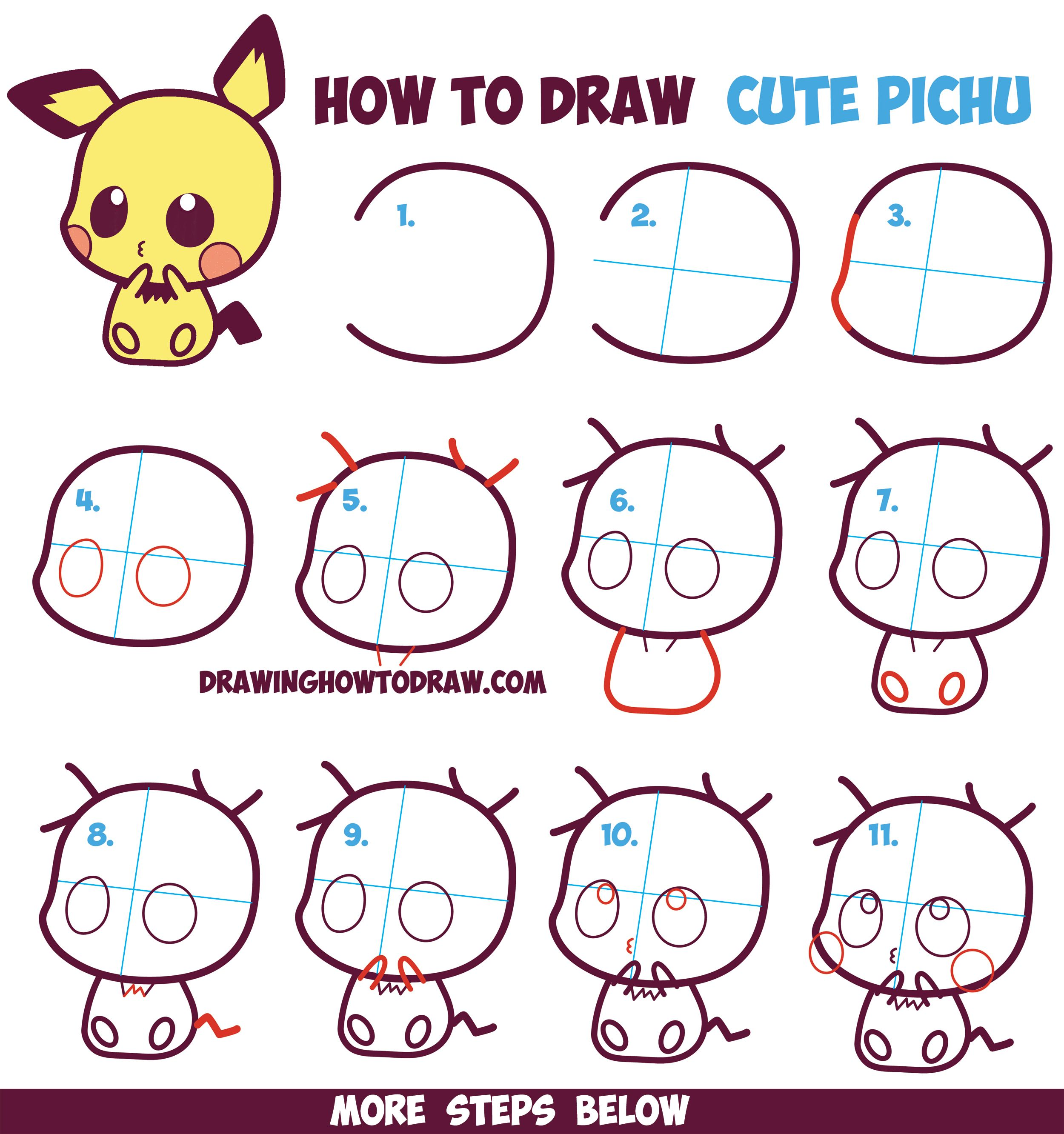 How to draw cute kawaii chibi pichu from pokemon in for Drawing ideas for beginners step by step