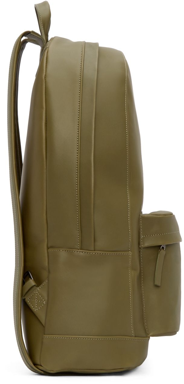 Olive Leather Backpack | SSENSE