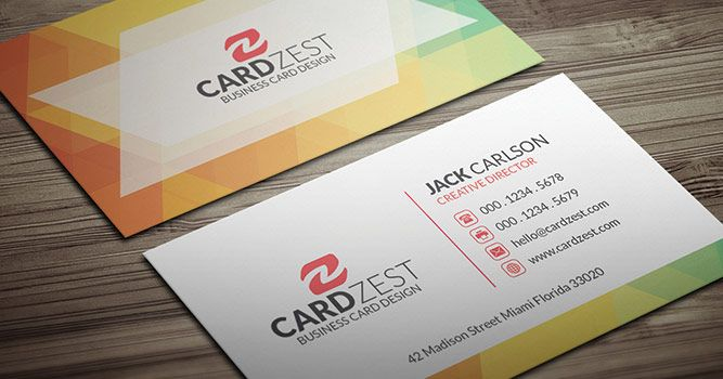 Modern Colorful Polygon Business Card Template Cardzest Business Card Template Premium Business Cards Templates